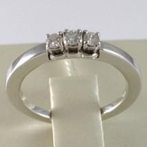 White Gold Ring 750 18k, Trilogy 3 TOTAL CARAT DIAMONDS 0.18 Square Shank image 2