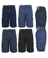 Men's Premium Cotton Multi Pocket Relaxed Fit Stonewash Denim Jean Cargo... - $24.95