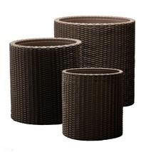 3 PCs Set Round Wicker Style Resin Rattan Flower Tree Plant Pot Decor Pl... - $100.33 CAD