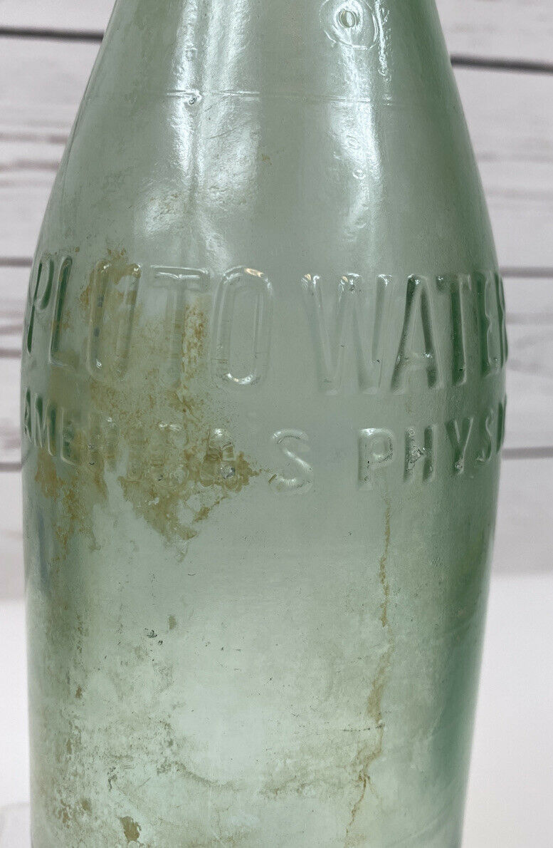 Primary image for Pluto Water America's Physic Embossed Green Glass Bottle Devil Bottom RARE 11""