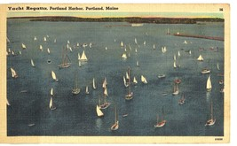 Linen postcard.  Yacht Regatta Portland Harbor, Portland Maine ME. 1943 - $5.00