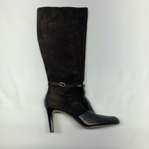 Ann Taylor LOFT Brown Suede Leather Zip Knee High Heel Boots Womens Size... - $26.09