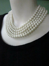 """Vintage 5 Strand White Faux Pearl Beads Collar Necklace 15"""" to 17"""" long - $9.49"""