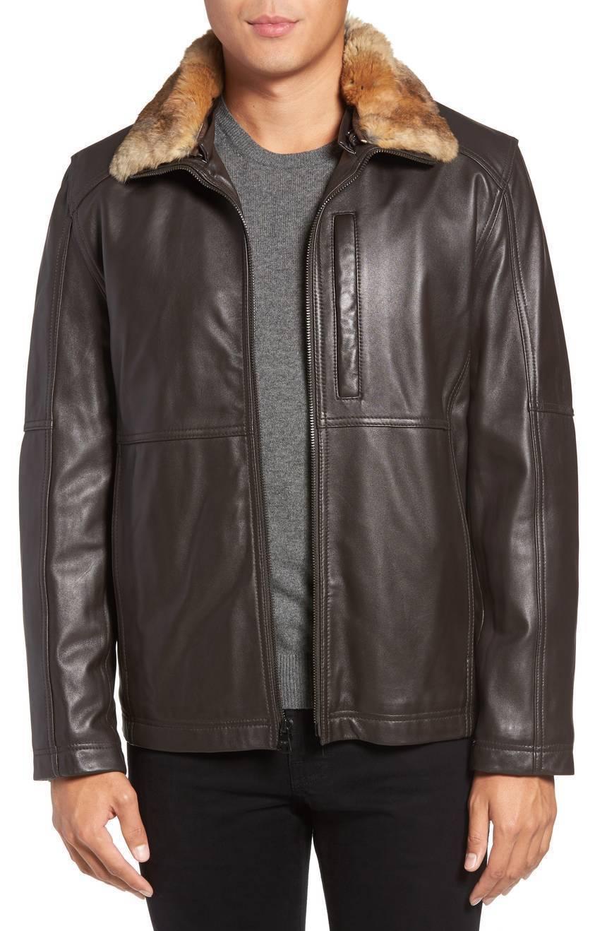 Classic Style Faux fur Collar Men's Genuine Soft Leather Jacket Biker jacket