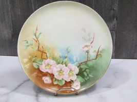 """Haviland Limoges Hand Painted Pink Flowers 1904 Plate 9 1/8"""" - $27.72"""