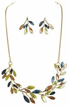 RAIN Women's Necklace & Earring Set Frosted Gold-Tone Leaves - $26.38