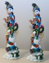 """Two Tall Snowman Figures """"Winter Companion"""" 12""""  Long Scarf, Wreath And ... - $23.36"""