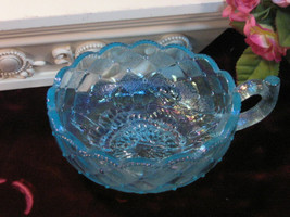 Vintage Fenton Art Glass Blue Carnival Pansy Pattern Handled Dish, 1970s... - $29.99