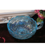 Vintage Fenton Art Glass Blue Carnival Pansy Pattern Handled Dish, 1970s... - $29.99