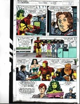 Original 1991 Avengers Marvel color guide art pg:Ironman/She-Hulk/Fantastic Four - $99.50