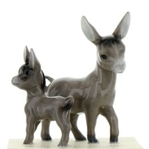 Hagen Renaker Miniature Farm Burro Mama and Baby Ceramic Figurine Set