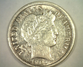 1901 BARBER DIME ABOUT UNCIRCULATED AU NICE ORIGINAL COIN BOBS COINS FAS... - $70.00