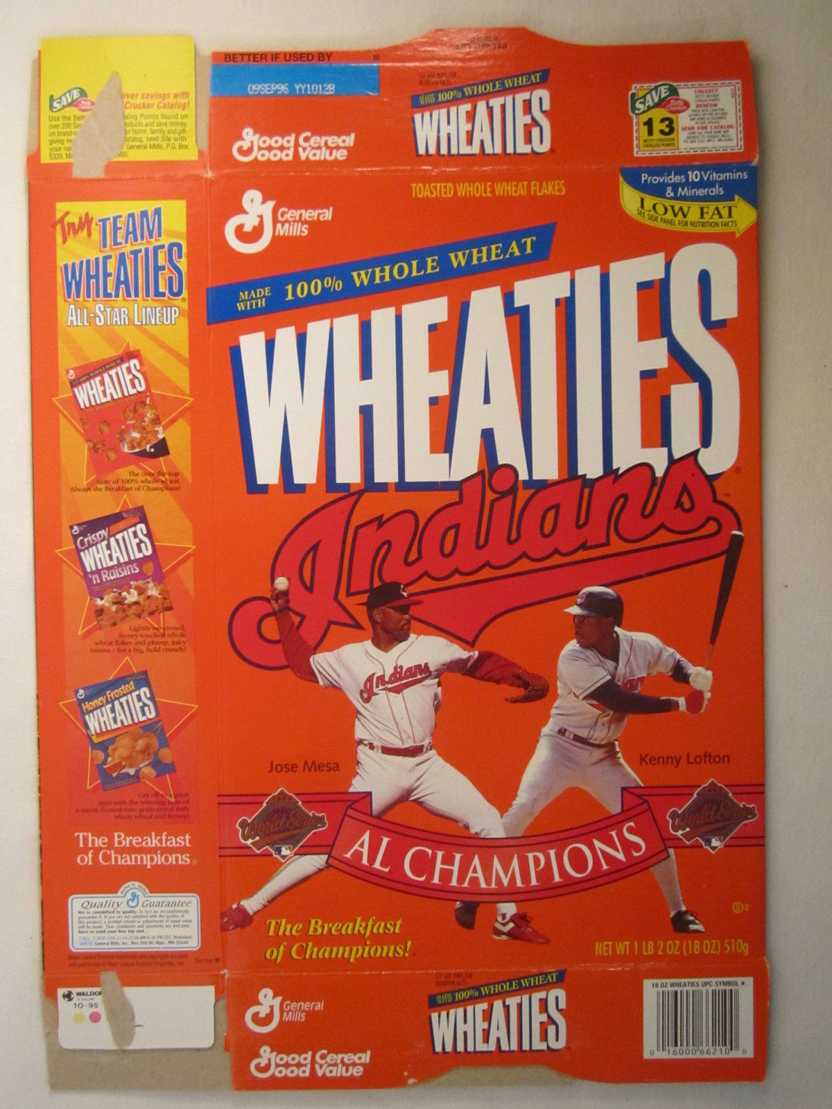 Primary image for Empty WHEATIES Box 1995 18oz AL CHAMPIONS Cleveland Indians MESA LOFTON [Z202h7]