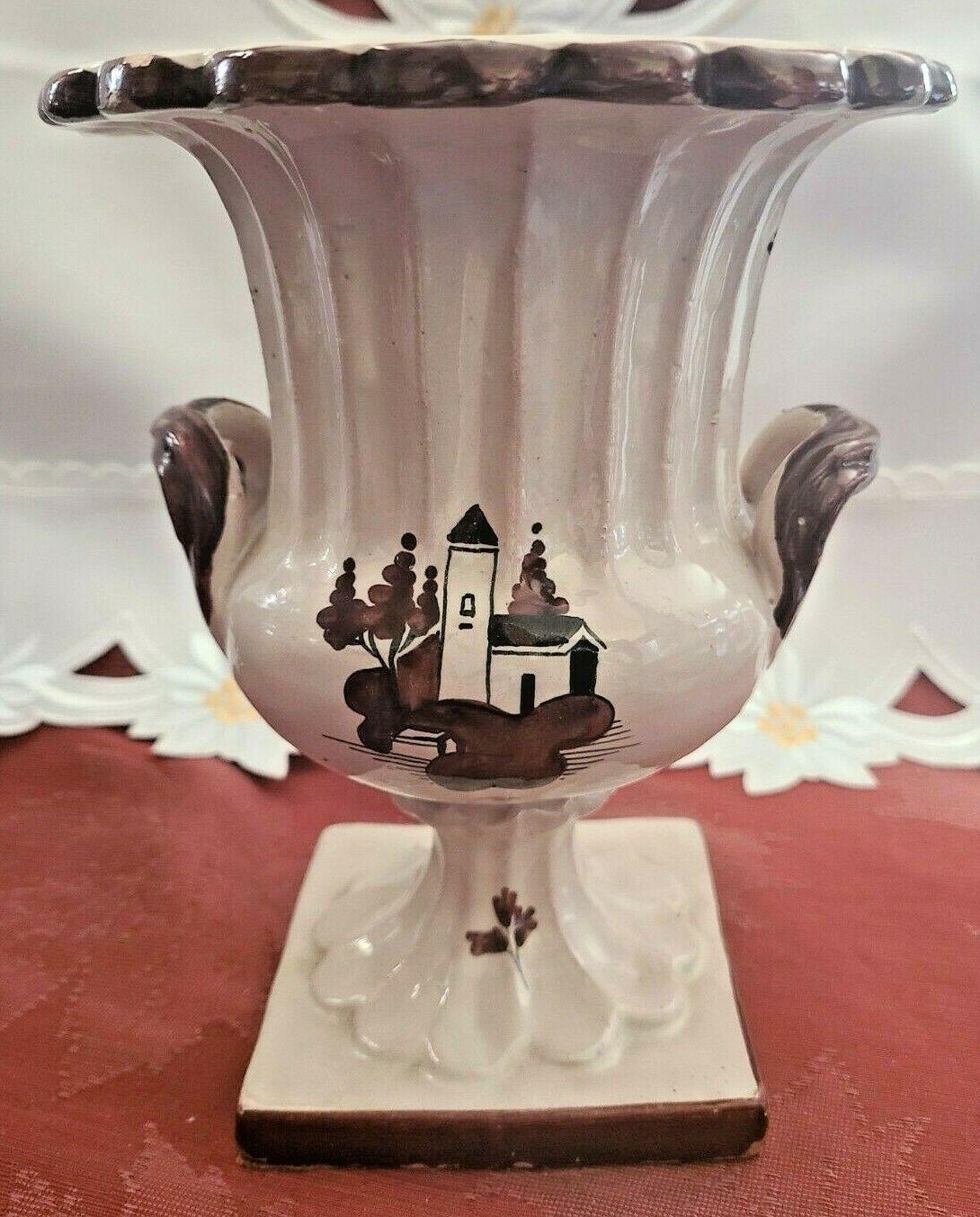 Vintage Glazed Brown on Cream Lighthouse Ceramic Two Handled Urn Planter Vase