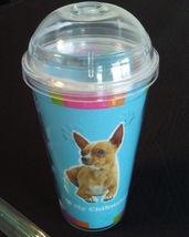 DOG LOVERS CUP Chihuahua Double Wall Insulated with Straw Blue Plastic NEW
