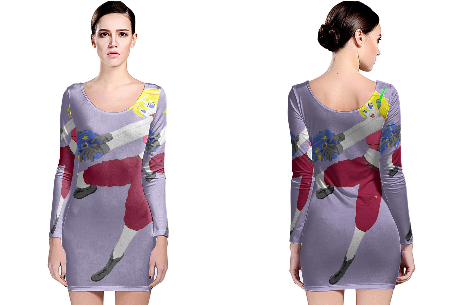Special ops robot curly brace long sleeve bodycon dress