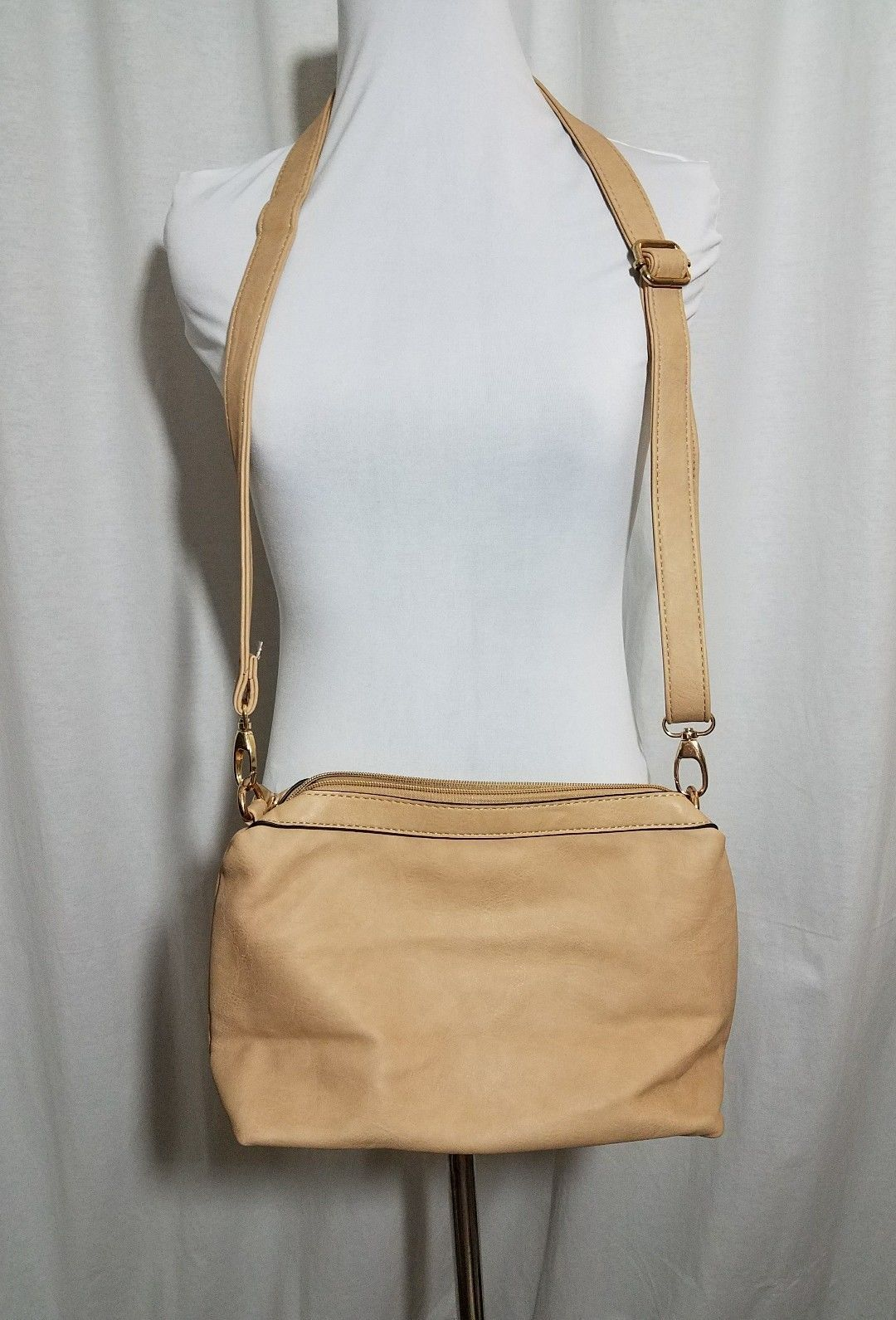 Crossbody  Purse Faux Leather Adjustable Strap New Pockets Beige