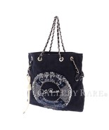 CHANEL La Pausa Chain Tote Bag Canvas Leather Navy 2019 Limited Italy Au... - $2,565.97