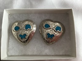 TRIFARI Casuals Silver Tone With Genuine Turquoise Large Heart Earrings Clip On - $12.79