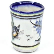 Ceramic Hand Painted Hummingbird & Flower Espresso Cup Mug Handmade Guatemala image 2