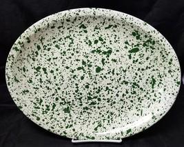 "Paden City Pottery Serving Platter Green Specks West Virginia, 14"" ×11"" - $29.02"