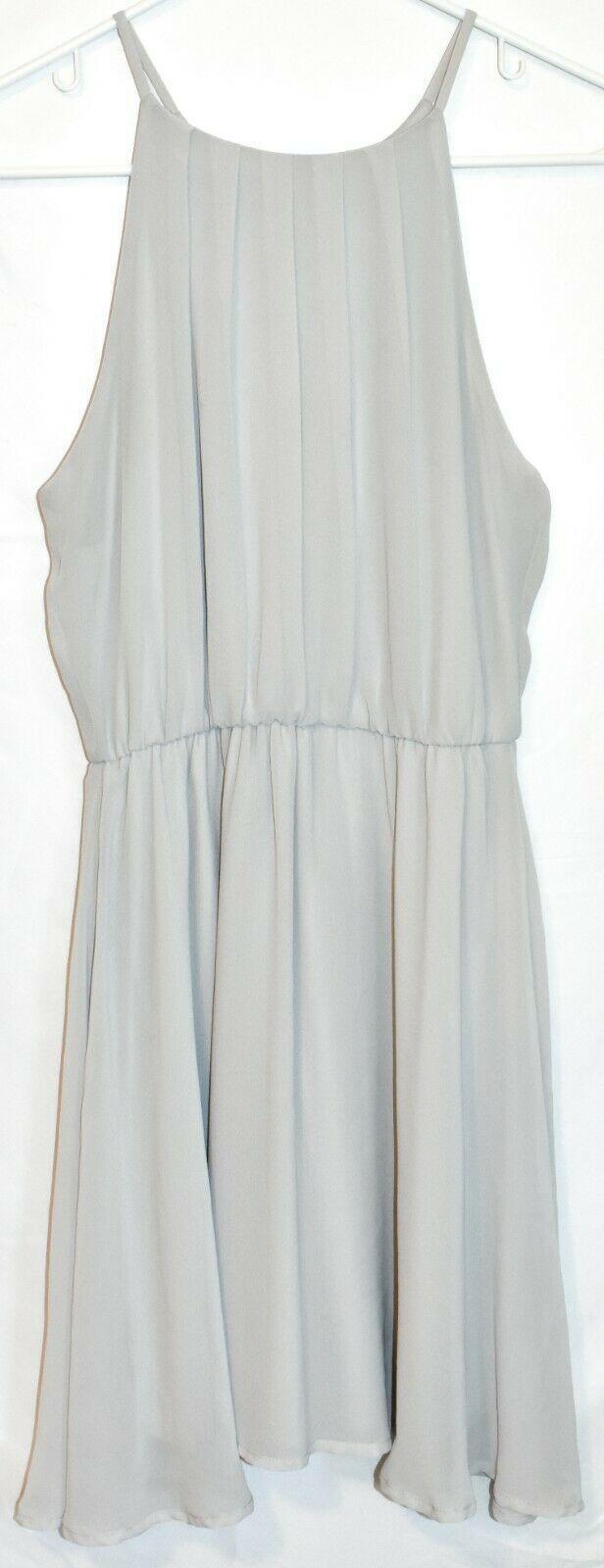 Lush Women's Light Gray High Neck Sleeveless Blouson Chiffon Skater Dress Size S