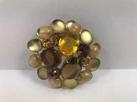 Vintage Round Brooch Pin Amber Rhinestone Gold ... - $19.99