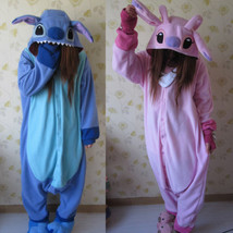 Adult Kigurumi Pajamas Animal One Piece Blue Stitch angel lilo Cosplay C... - $22.99