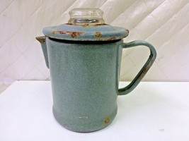Pyrex Coffee Pot Graniteware Speckled Granite Kettle 47X Antique Rusty Gold - $22.12