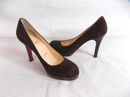 Christian Louboutin Shoes Women's Brown Wedge Toe Suede Heel Pumps 36 1/2 - $3.778,74 MXN