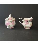 Edwardian BNIB Fine Bone China Sugar Bowl and Cream Milk Jug England Ros... - $22.97