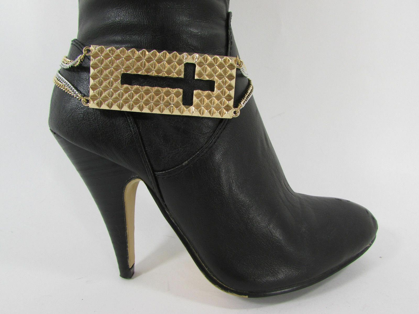 Femme Mode Bijoux Coffre Bracelet or Plaque Croix Chaînes Chaussure Bling