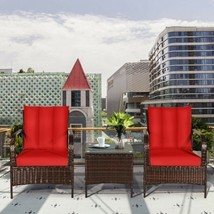 3 Pcs Patio Conversation Rattan Furniture Set with Glass Top Coffee Table and Cu - $351.42