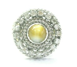 Cat's Eye Rope Halo Diamond Solid Yellow Gold Jewelry Ring 14Kt 1.40Ct S... - $742.50