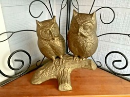 Vtg mid century modern retro  large 2 Brass Owl Statue sculpture tree br... - $74.25