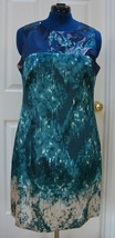 T Tahari Demitra Shift Dress Sz 12 Blue Satin Blue NWT - $37.95