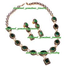66.40c ROSE ANTIQUE CUT DIAMOND REAL EMERALD VICTORIAN LOOK WEDDING NECK... - $2,022.05
