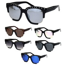 Womens Metal Studded Exposed Lens Plastic Horned Butterfly Sunglasses - $16.94 CAD