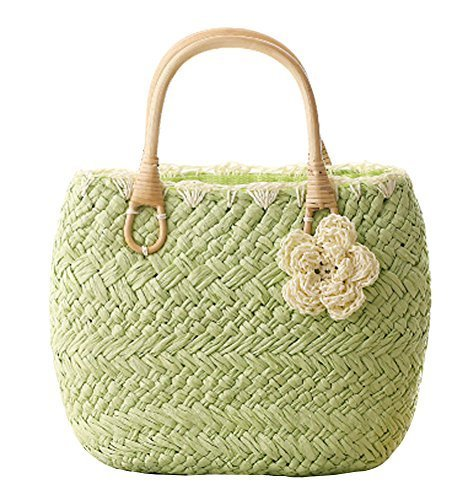 Fashion Vacation Item/Sweet Crochet Flower Straw Hand Bag/ Beach Bag/Light Green