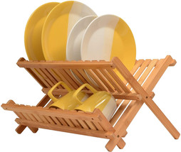 Bambusi Collapsible Dish Drying Rack - Bamboo Kitchen Folding Dish Rack ... - $24.99