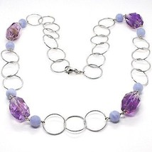 SILVER 925 NECKLACE, FLUORITE OVAL FACETED PURPLE, CHALCEDONY, 70 CM image 1
