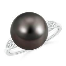 12mm Classic Ball Tahitian Cultured Pearl Black Diamond Cocktail Ring - $1,448.10