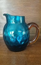ANTIQUE VICTORIAN SUPERB BLUE AMBER COIN DOT PITCHER  - $99.00
