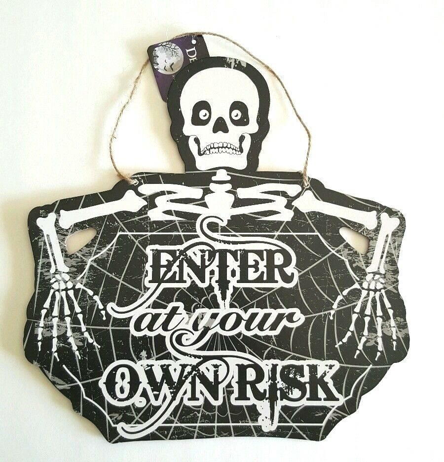 Primary image for Halloween Wall Hanging Plaque Sign  Enter at your own Risk Skeleton
