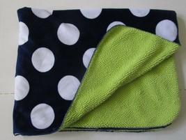 Circo Navy Blue Baby Blanket Big White Dots Green Sherpa Target Lovey Plush - $904,38 MXN