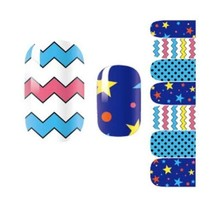 Blue Tone Nail Art Sticker Nail Decals Nail Wrap Decoration, 3 Sets image 2
