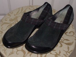 Jambu Women's Cassey Clogs Sport Wedge Suede Leather Plaid Elastic Trim Size 8 - $27.99