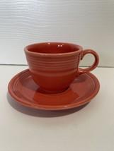 Fiesta Ware Teacup And Saucer Set Paprika Red Orange - $12.99