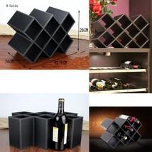 8-Bottle Wood Tabletop Wine Rack(Black Leather... - $89.99