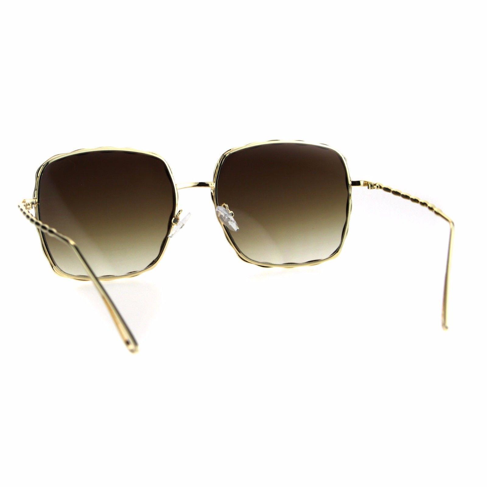 94348f16d2 Womens Rectangular Bling Jewel Metal Rim Designer Butterfly Sunglasses